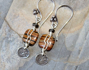 Black and Brown Earrings, Wire Wrapped Earrings, Bohemian Earrings, Autumn Earrings, Stone Earrings, Striped Earrings, Jasper Earrings