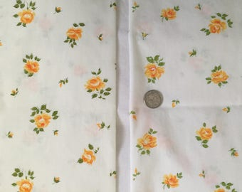 2 Vintage Springmaid Wondercale Pillowcases, Standard Size, Floral Rosebud Print, Yellow Orange Rose, Made in USA, 50% Combed Cotton
