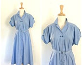Vintage 60s Shirtwaist Dress - fit and flare - Lucy dress - blue cotton dress - L XL