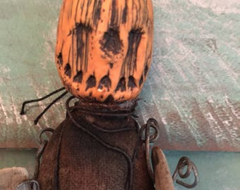 OOAK Halloween JOL Art Doll In Lowbrow Fashion For Horror Prop or Oddity Freak Show Cabinet Free Ship in USA Gothic Odd