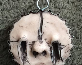 OOAK One Of A Kind Handmade Clay Witch Face Pendant Lowbrow Repurposed Beer Lid jewelry Folk Art Amulet Red Stripe Magic Ring Horror Movie