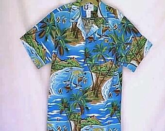 Vintage 1970s  RJC LTD Aloha Hawaiian Shirt 1970s Blue Ocean Lagoon Beach Sea Life Dolphins Sea Turtles and Palm Trees