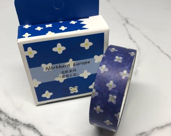 Daisy Washi Tape, Planner stickers, Blue White Yellow flower masking tape