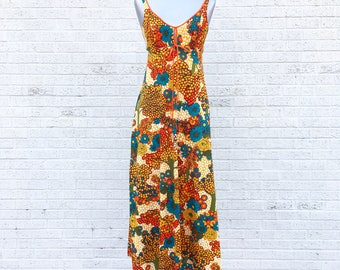 Vintage 70s Bright Mod Spaghetti Strap Maxi Orange Blue White Yellow Red  small