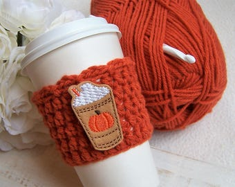 Crochet Coffee Cozy - Pumpkin Spice Frappachino Frap