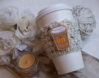 Crochet Coffee Cozy - 'New' Pumpkin Spice Latte