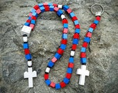 The Original MementoMoose Rosary and Chaplet Set Made with Lego® Bricks - Blue, Red and White - First Communion Special!
