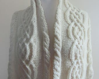 Celtic Scarf Aran Cable Hand Knit Unisex White Wool Fringe Victorian Civil War Irish Reenactor - Size Large