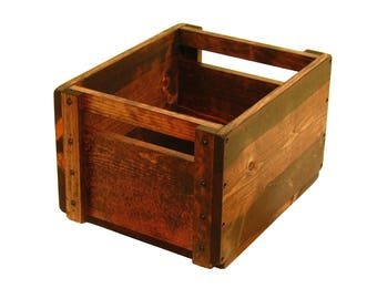 Wooden Bin with Slotted Handle, Wood Crate, Wooden Box, Dog Toy Box, Storage Tote