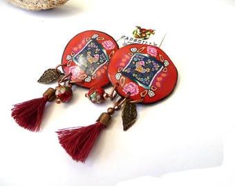 Boucles d'oreilles oiseau inspiration slave fond  rouge