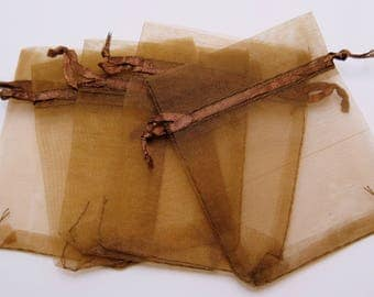 Brown Organza Bags, Brown Gift Bags, 25 pieces, 7x9cm (2.75x3.5 in), Wedding Favor Bags, Party Favor Bags, Gift Bags, Jewelry Pouches