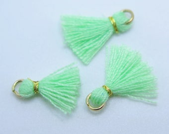 Mini Cotton Jewelry Tassels with Gold Binding and Gold Plated Jump Ring, Light Green Tassels, 3 pcs Approx 10mm - MT13