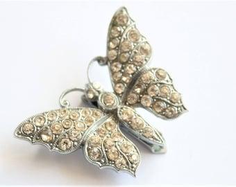 Vintage crystal butterfly dress clip.   Rhinestone dress clip