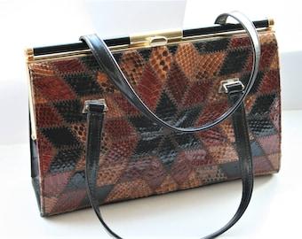 Vintage patchwork leather handbag.  Ackery of London handbag.  Snakeskin handbag.  Vintage accessories