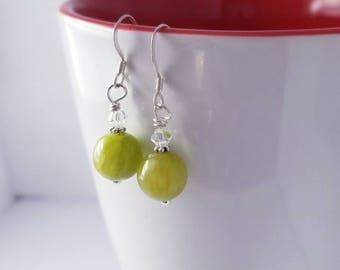 Green Aventurine & Swarovski Crystal Dangle Earrings