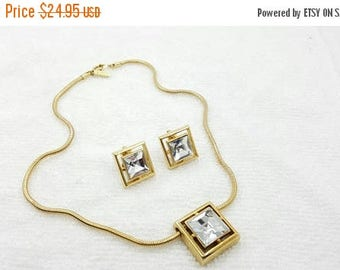 Avon Square Cut Lead Crystal Pendant and Clip earrings  Mint Condition 1977 Modern Sparkle