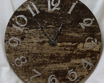 18 Inch Large  Rustic RECYCLED WALL CLOCK with Brushed Aluminum Hand Cut  Numbers