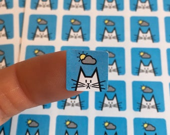 """Sunny spells cat stickers, weather organiser sticker sheet, square icon stickers 12mm / 0.5"""", 80 stickers, weather icons"""