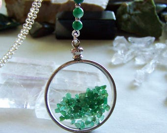 Floating Emerald Gemstone Crystals Double Sided Glass Locket Necklace