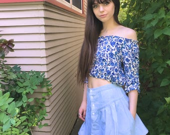 Eco Mini SKIRT, Size XS/S, boho clothing, hippie clothing,festival skirt, denim chambray skirt,folk skirt, blue  mini skirt,  Zasra