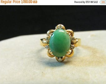 On Sale Vintage Estate Dainty 14K Apple Green Jade with Diamond Accent Ring