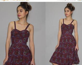 On SALE 35% Off - Vintage 1950s Bombshell Batik Paisley Cotton Dress - Mod 50s Cotton Dress  - 50s Cotton Dresses Dresses   - WD0733