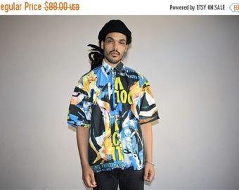On SALE 35% Off - Graphic 90s  Short Sleeve Hip Hop Rap Fresh Prince 90s Men's Button Up Dress Shirt - MV0416