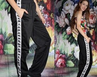 On SALE 35% Off - Vintage 90s Kappa Black and White Minimalist Hip Hop Athletic  Goth Track Pants - 1990s Kappa Workout Pants - 1990s Sweat