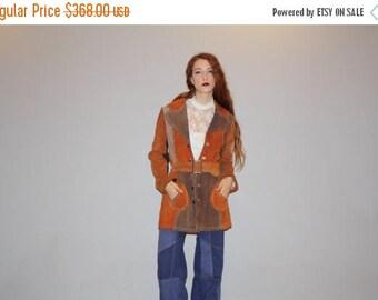 50% Off SALE - Vintage 1960s Brown Patchwork Hippie Boho 70s  Suede Coat - Vintage 60s Suede Coats - Brown Suede Coat - W00083