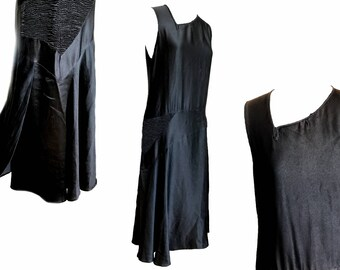1920s Flapper Dress. Jet Black Silk Charmeuse. Asymmetrical Neckline. Shirred Hip Detail. Bias Cut Skirt.