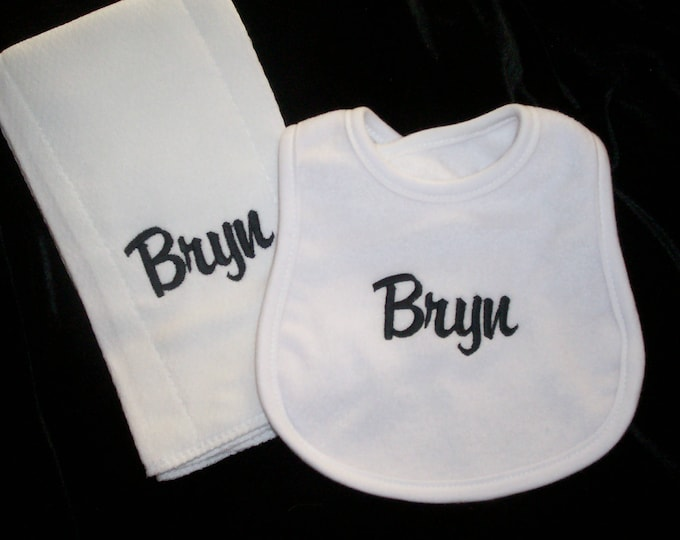 Baby boy monogram Burp Cloth Bib set, Baby Girl Personalized Gift Set, Personalized Baby gift, monogram baby gift, monogram bib, Shower gift