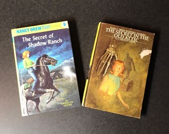 Vintage Nancy Drew Books 2 Mystery books -   The Secret of Shadow Ranch and The Secret in the Attic