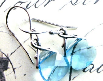 ON SALE Swarovski Crystal Briolette Earrings in Aqua Blue - Handmade with Swarovski Crystal and Sterling Silver- FREE Us Shipping