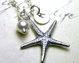 ON SALE Silver Starfish Necklace - Customized Initial And Starfish Pendant In Sterling Silver With Swarovski Crystal Pearl Charm