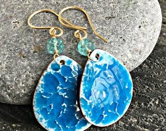 """Hand Made """"Ocean"""" Enamel And Gemstone Drop Earrings"""