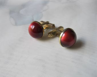 Vintage Anson Red MoonGlow Cufflinks Gold Tone Burgundy Jewelry Cuff Links