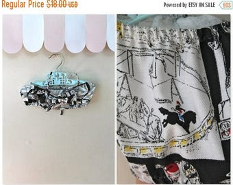 20% off SALE vintage little girl's crop top - CIRCUS PERFORMERS novelty print swim top / 6-8yr