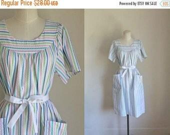 20% off SALE vintage 1970s dress - SALT WATER Taffies candy striped cotton dress / fits most