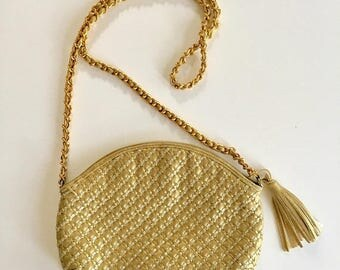 AWAY SALE 20% off vintage gold leather bag - GOLD & Silver woven purse
