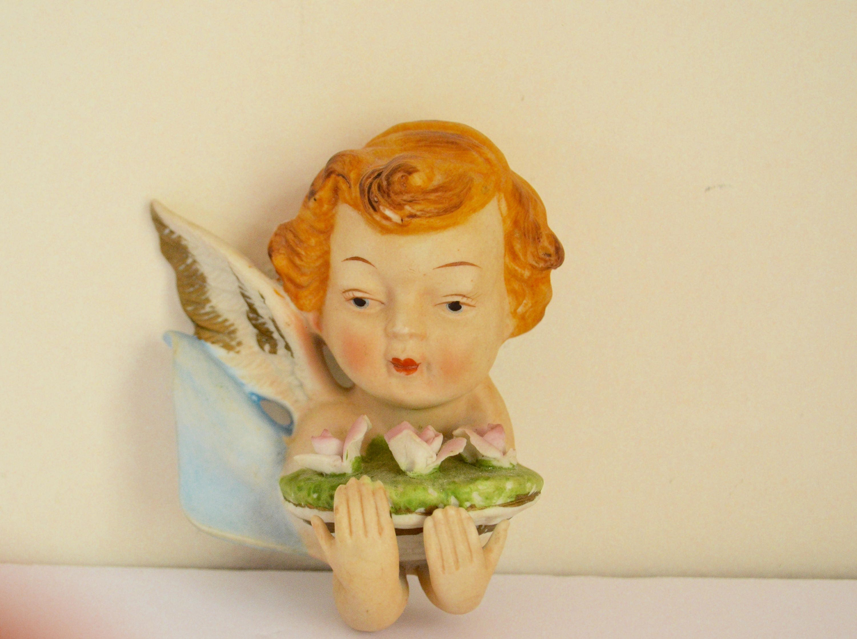 Shabby Chic Porcelain Cherubs Angels Wall Art / Childs Ornaments ...
