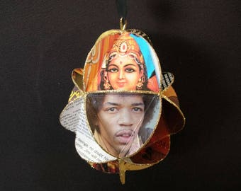 Jimi Hendrix Album Cover Ornament Made Of Repurposed Record Jackets