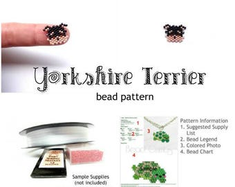 Yorkshire Terrier Dog Delica Bead Weaving Pattern