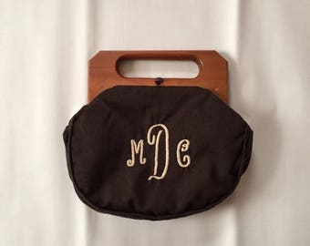 25% OFF SALE... 1950s coffee brown wool handbag | wooden handles monogram letters bag