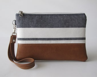 Large Wristlet, iPhone 8 Wristlet, Vegan Leather Wristlet, Coastal Stripe Wristlet ,Wristlet Wallet, Bridesmaid Gift, Gift For Her