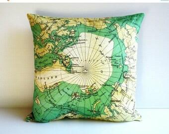 SALE SALE SALE Map cushion cover , Decorative throw cushion map cushion  Arctic Circle cushions cover, map pillow, 40cm cushion, 16 inch pil