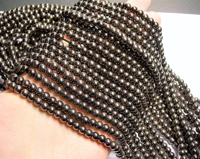Charcoal Hematite - 6 mm round beads - full strand - 74 beads - Big hole - AA quality - RFG1416