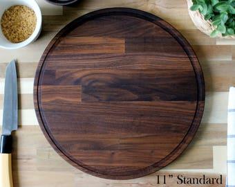 Craftsman Walnut Wood Round Cutting Board - Classic Midcentury Modern / Butcher Block Design Style