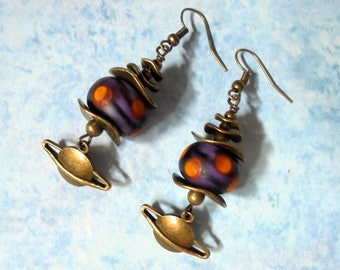 Purple, Orange and Black Planetary Boho Earrings (3706)