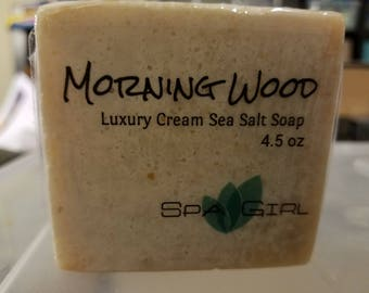 Morning Wood Luxury Sea Salt Essential Oil handmade soap (cold process) 4.5 oz with Heavy Cream, shea butter & Cocoa Butter