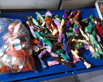 Vintage Lot of 100 plus Skeins of Embroidery Thread / Floss Lily Dyno J P Coats